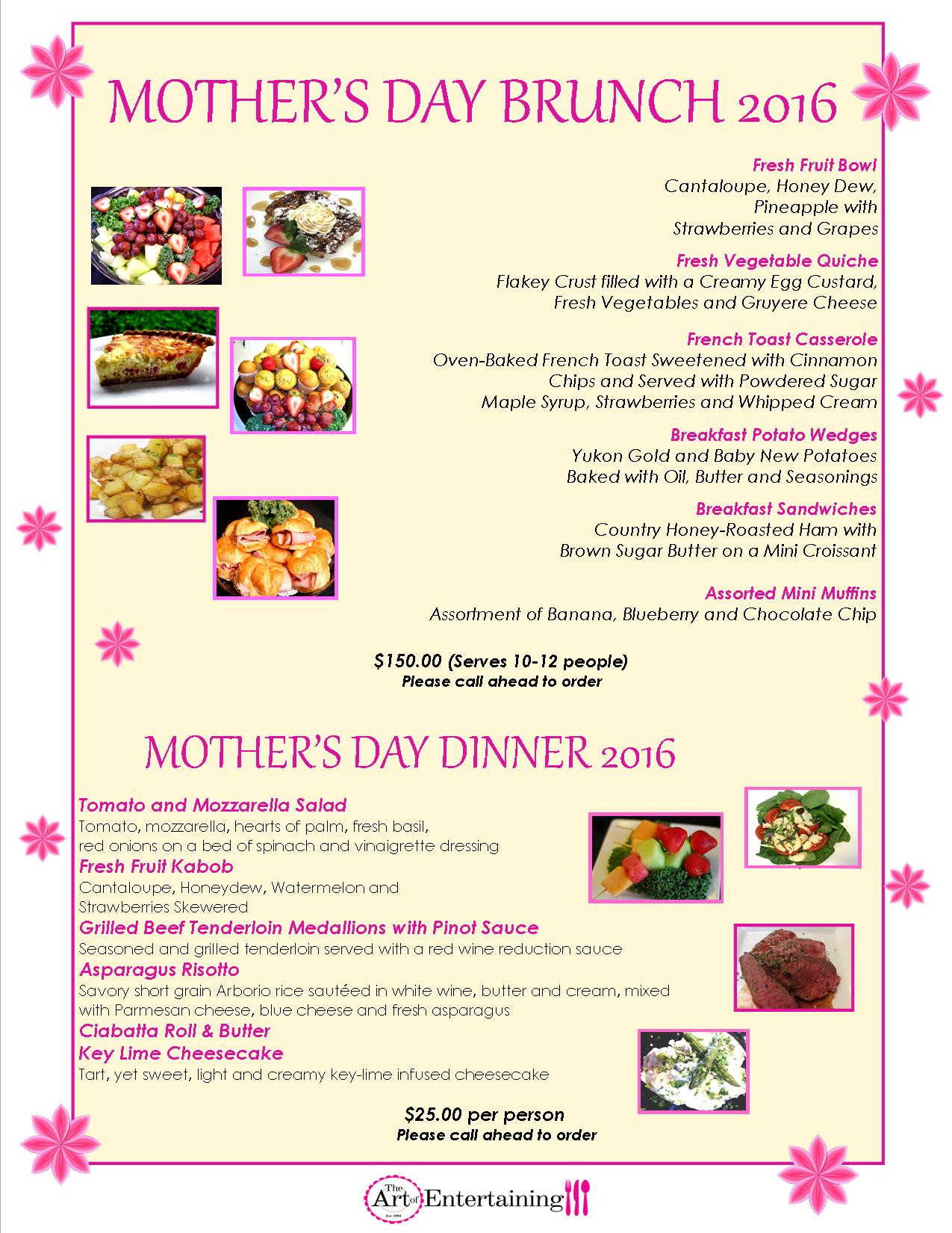 Mothers Day Dinner Menu  The Art of Entertaining The Art of Entertaining