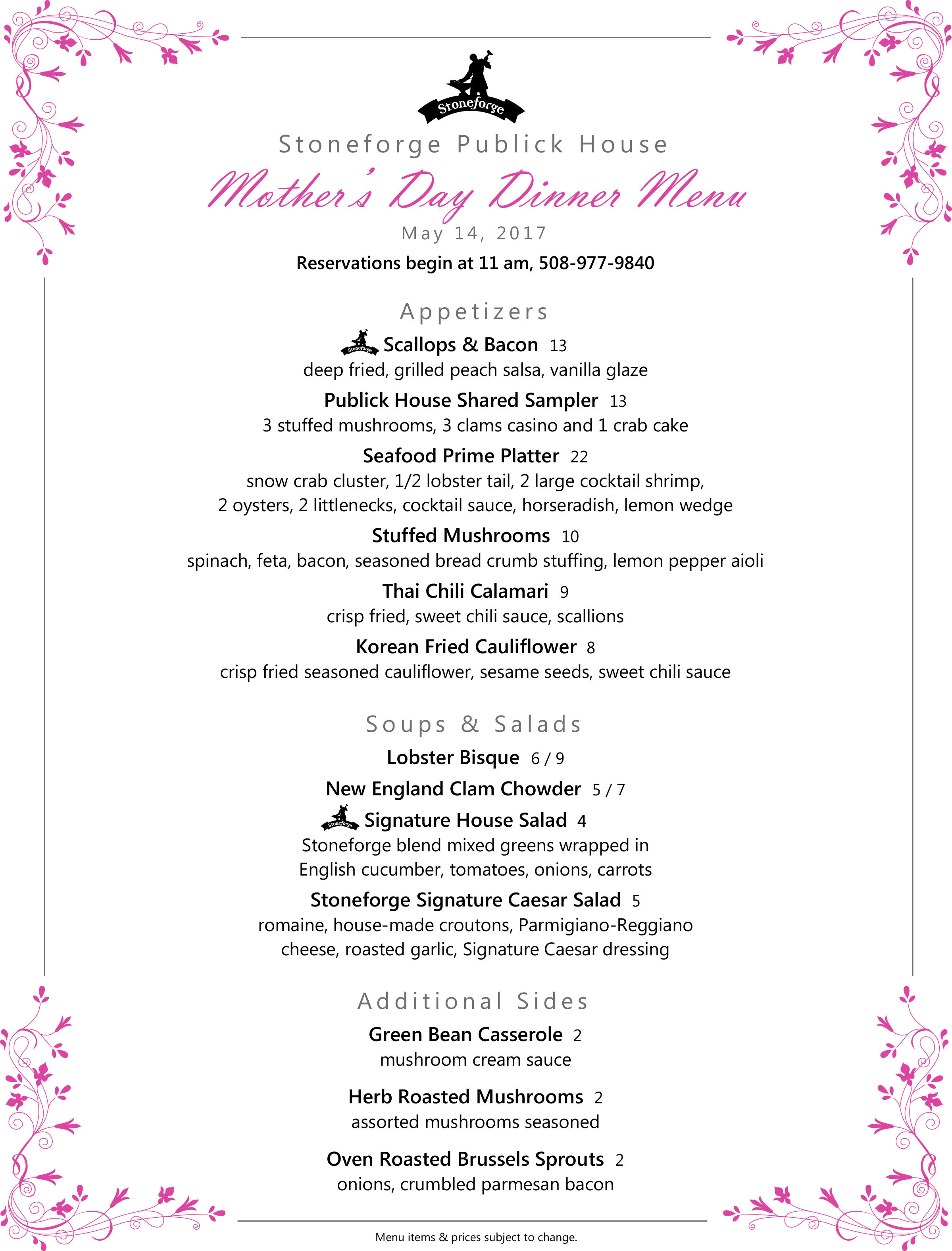 Mothers Day Dinner Menu  Where to take Mom on Mother's Day