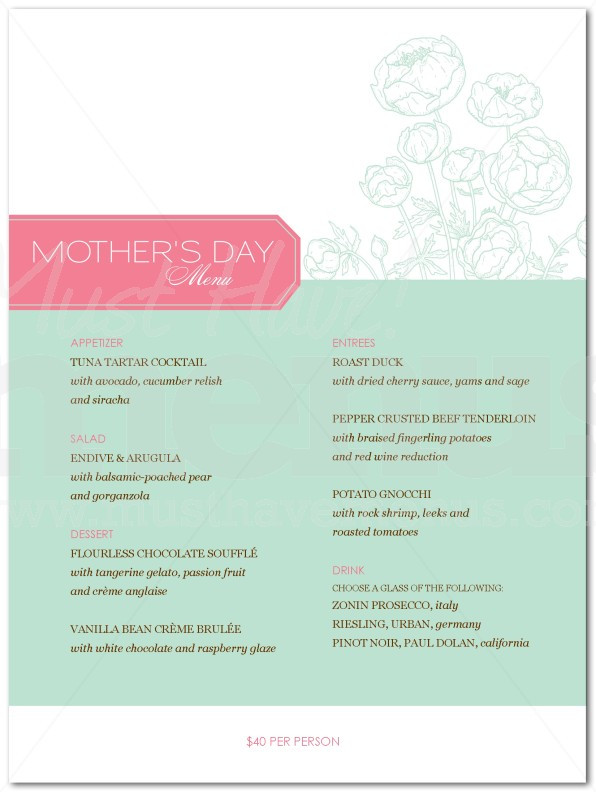 Mothers Day Dinner Menu  Mothers Day Dinner Menu