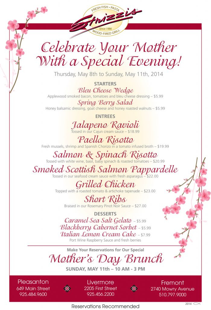 Mothers Day Dinner Menu  36 best About Strizzi s images on Pinterest