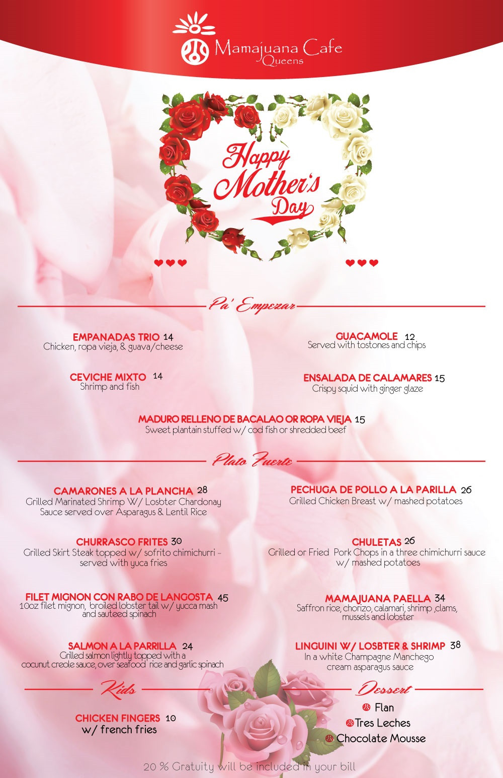 Mothers Day Dinner Menu  MOTHERS DAY MENU MAMAJUANA QUEENS Mamajuana Cafe Queens