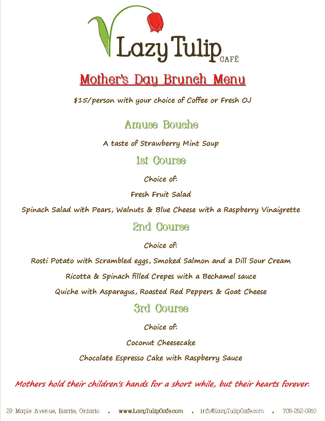 Mothers Day Dinner Menu  Barrie tario Mother s Day Brunch Menu