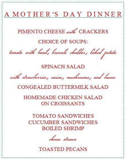 Mothers Day Dinner Menu  Mothers Day dinner menu Celebrate