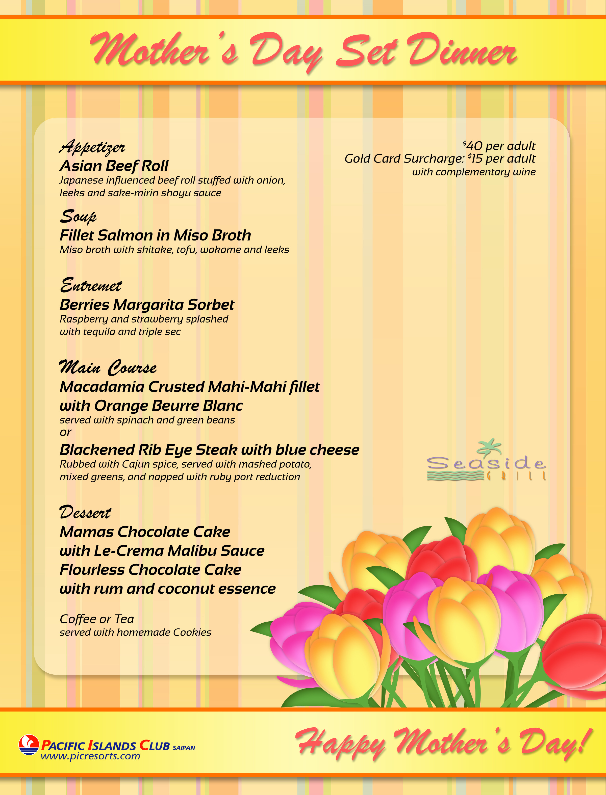 Mothers Day Dinner Menu  Special Mother's Day Dinner at Seaside Grill