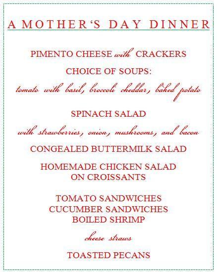 Mothers Day Dinner Menus  Mothers Day dinner menu Celebrate
