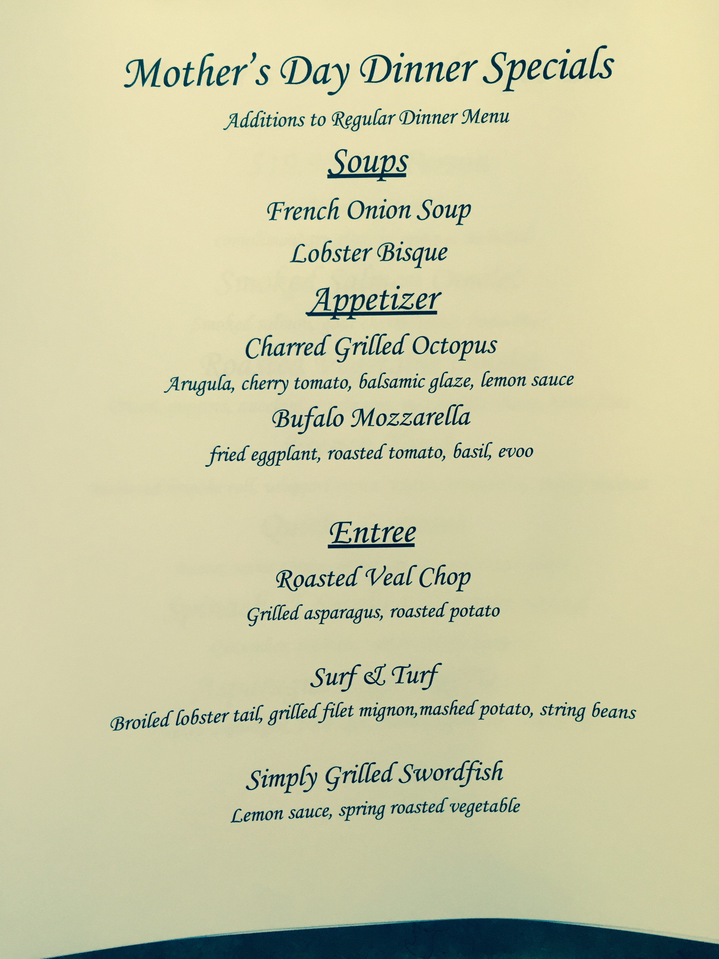 Mothers Day Dinner Menus  Morther's Day Dinner Specials