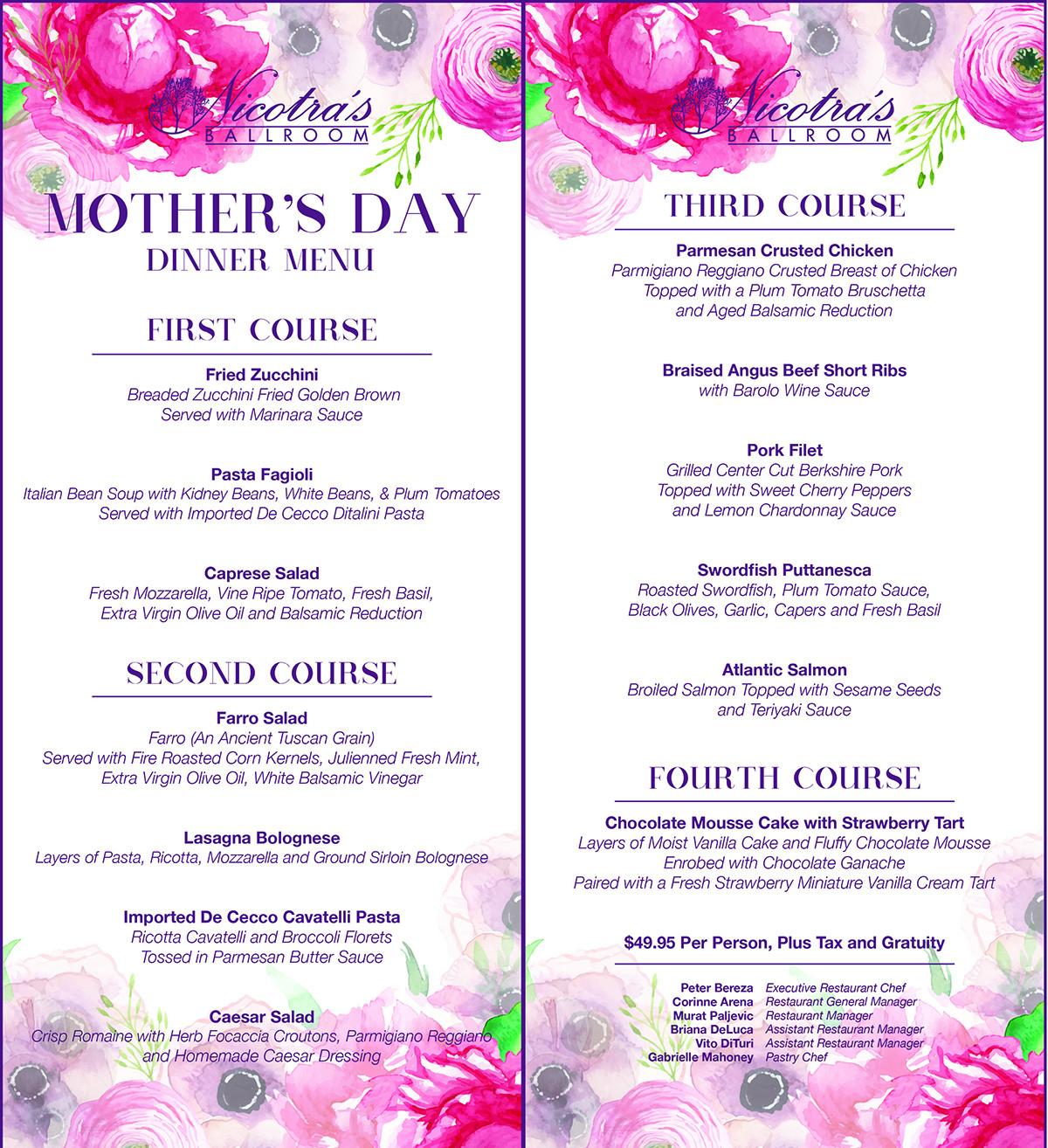 Mothers Day Dinner Menus  Mother s Day Lorenzo's Restaurant Bar & Cabaret