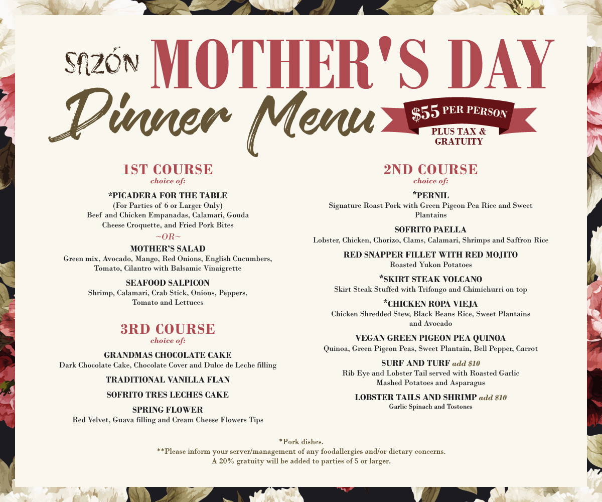Mothers Day Dinner Menus  Sazon
