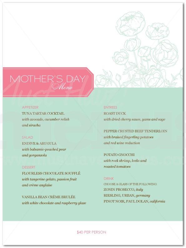 Mothers Day Dinner Menus  Mothers Day Dinner Menu