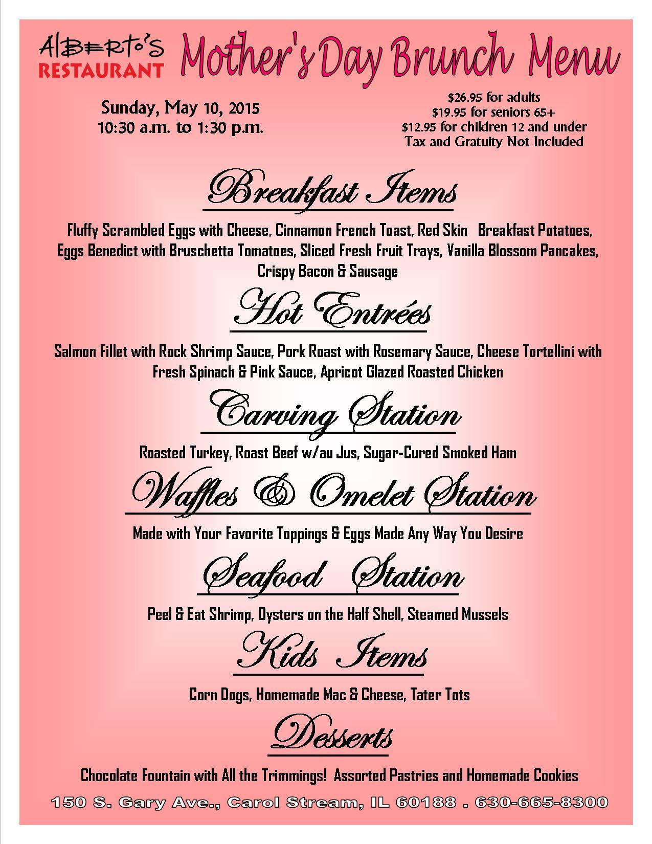 Mothers Day Dinner Restaurant  Mother s Day Restaurant Menus Related Keywords Mother s