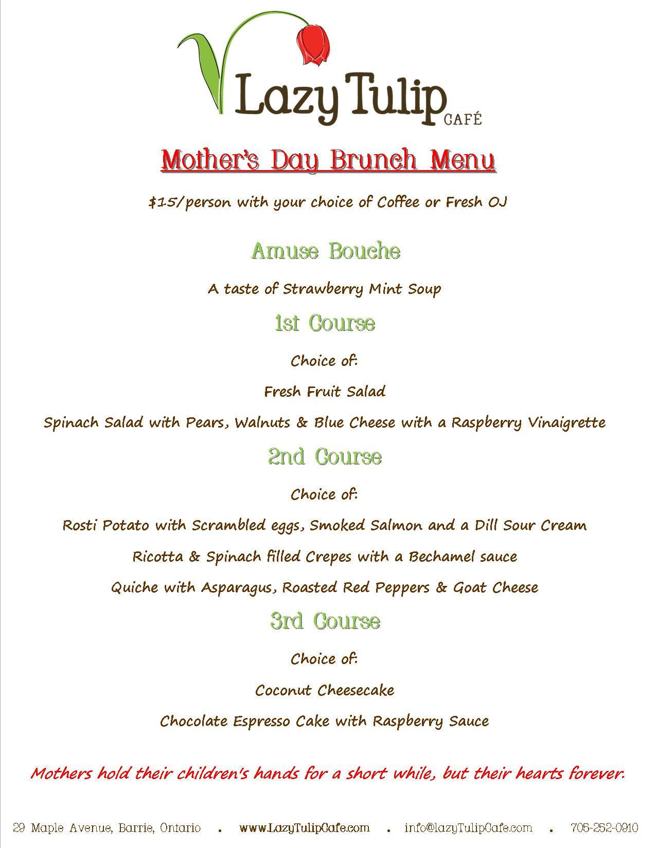 Mothers Day Dinner Restaurant  Barrie tario Mother s Day Brunch Menu