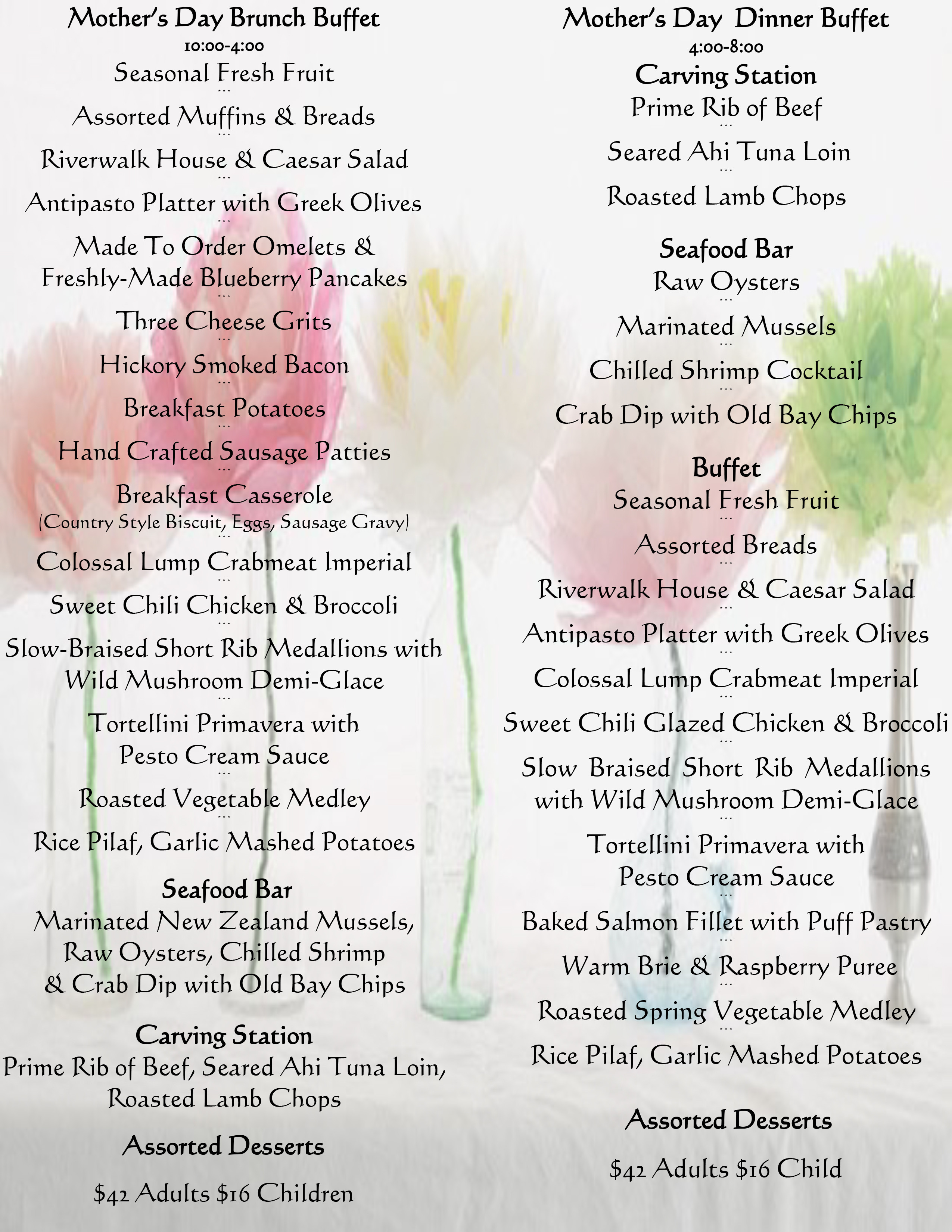 Mothers Day Dinner Restaurant  Mother s Day Special Menu