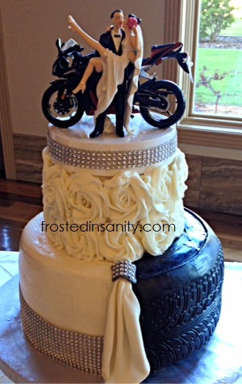 Motorcycle Wedding Cakes  Frosted Insanity Split Bride and Groom Cake