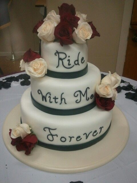Motorcycle Wedding Cakes  midnight magic bakery Biker rose wedding cake