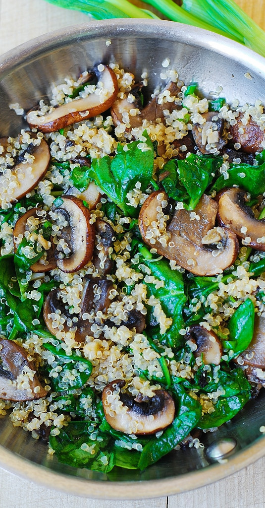 Mushroom Main Dish Recipes Healthy  Spinach and mushroom quinoa Julia s Album