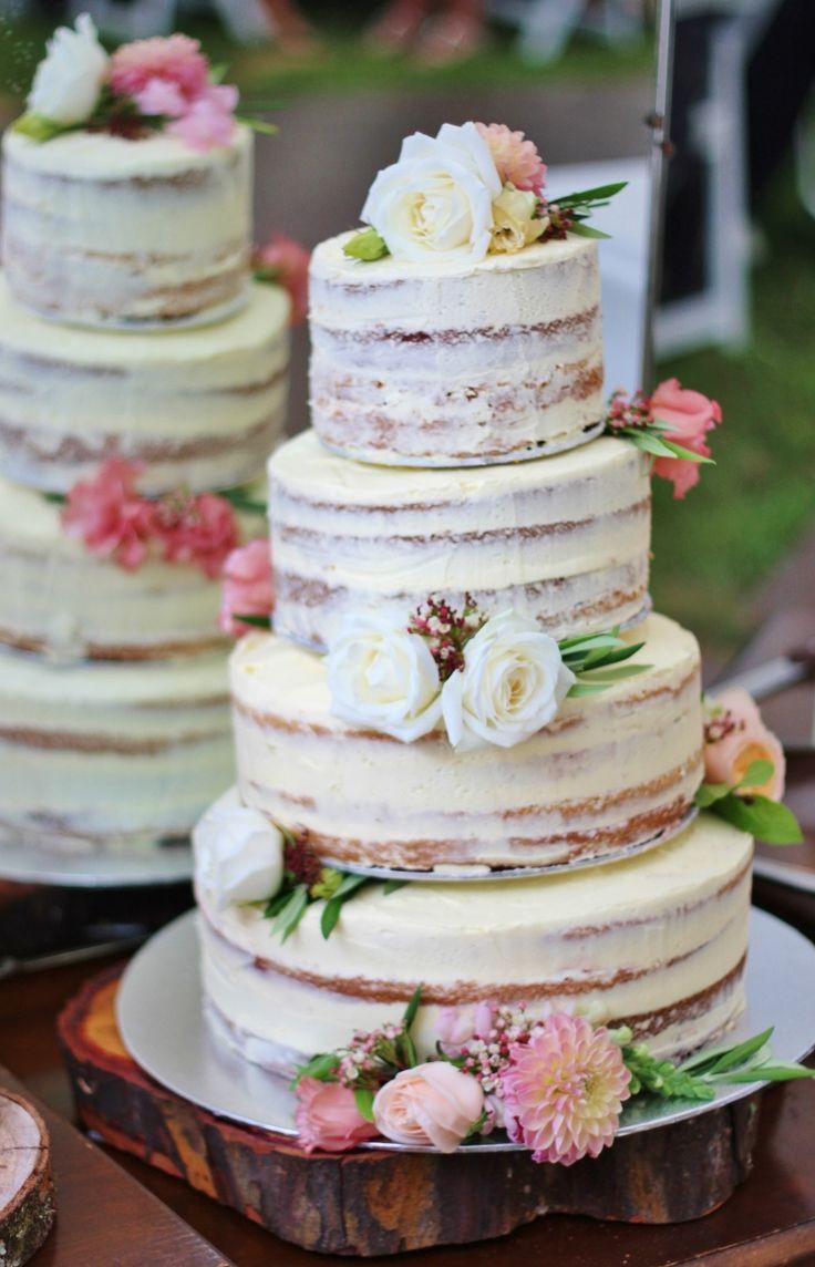 Naked Wedding Cake Recipe  wedding cake Tartas de boda Pinterest