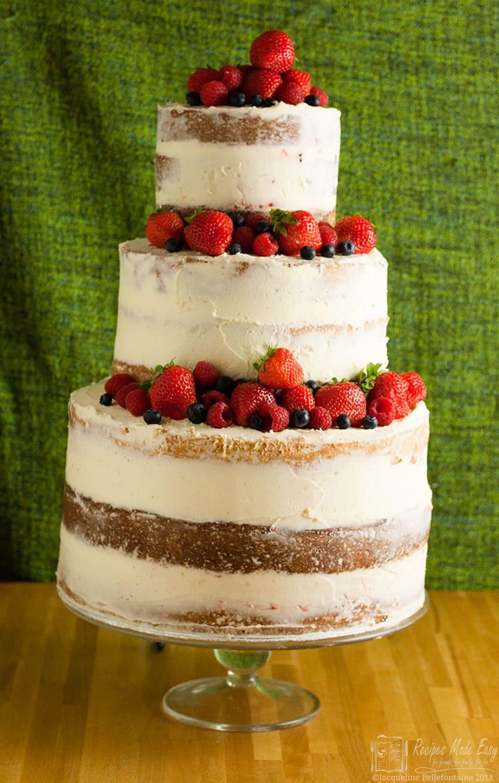 Naked Wedding Cake Recipe  How to make a semi wedding cake