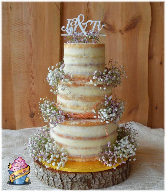Naked Wedding Cakes  Semi wedding cake cake by zjedzma CakesDecor