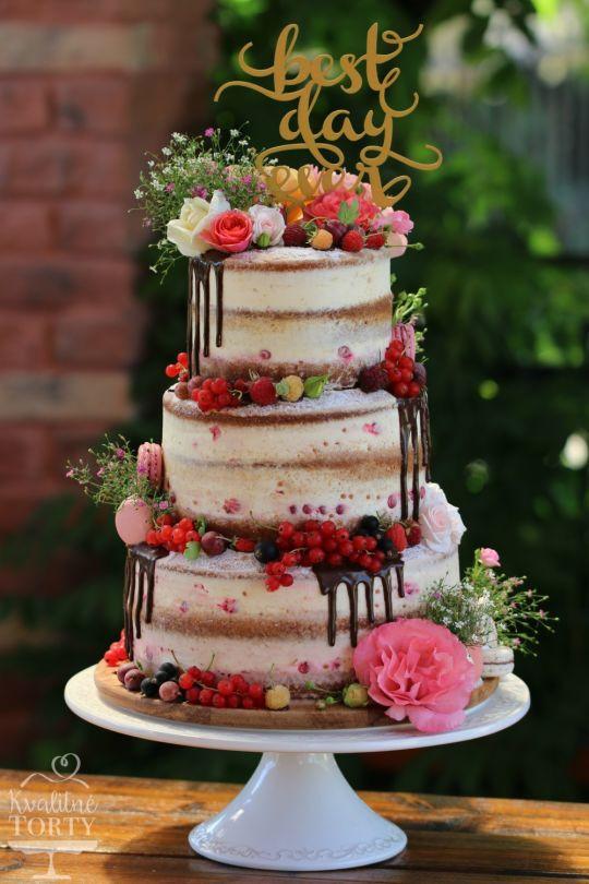 Naked Wedding Cakes  semi wedding cake cake by Lucya CakesDecor