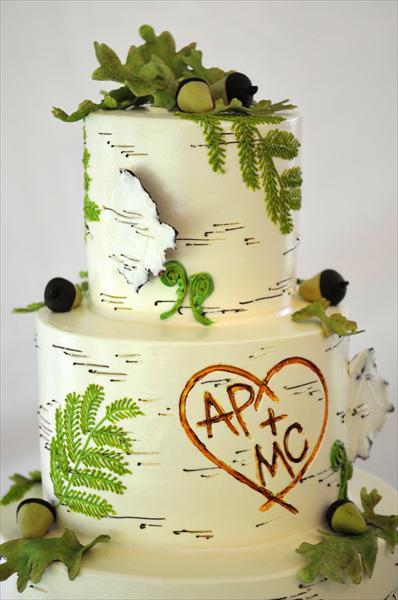 Nature Themed Wedding Cakes  Birch Bark Wedding Ideas