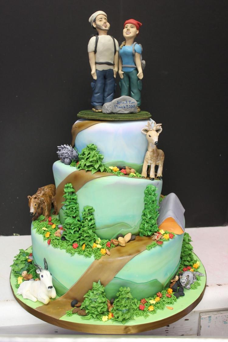 Nature Themed Wedding Cakes  Outdoor Hiking Wedding Cake