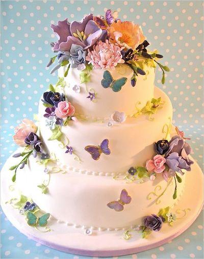 Nature Wedding Cakes  Purple Nature Inspired Wedding Cake wedding cakes