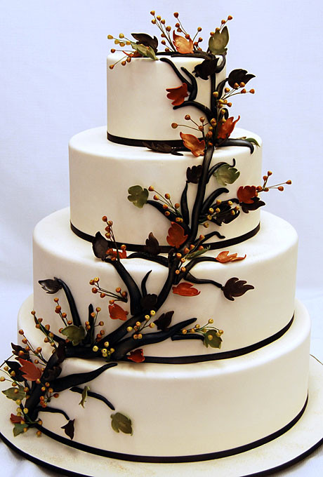 Nature Wedding Cakes  Wedding Inspiration Center Fall Wedding Cake with Nature