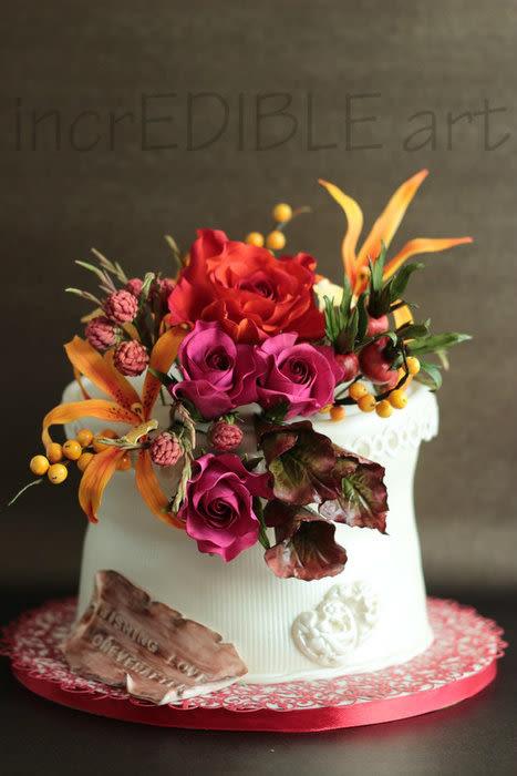 Nature Wedding Cakes  Vivid Colours of Nature Wedding cake Cake by Rumana