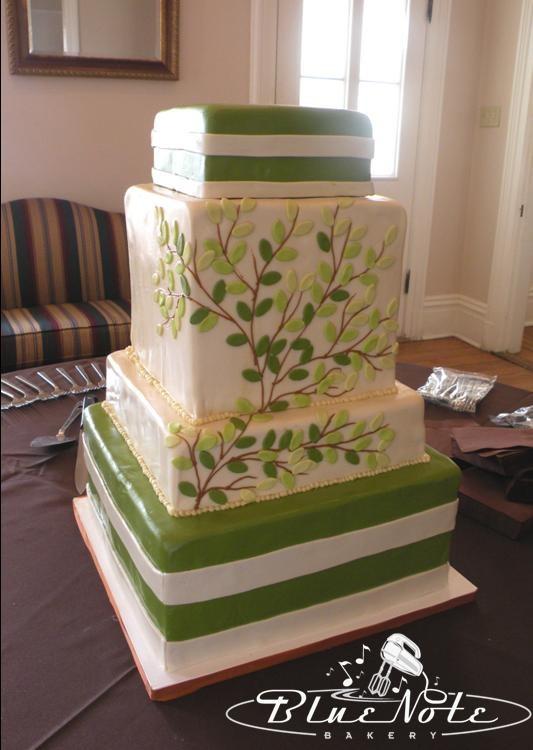 Nature Wedding Cakes  nature wedding cake tree branch square cake green