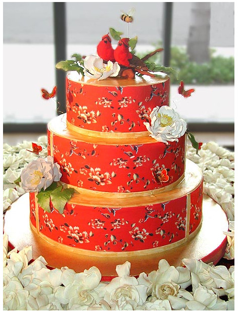 Nature Wedding Cakes  Red wedding cake with nature cake topper PNG