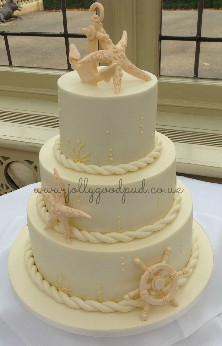 Nautical Wedding Cakes  Nautical wedding cake from The Jolly Good Pud pany