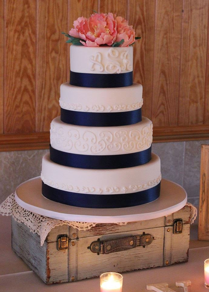 Navy Blue and Coral Wedding Cakes 20 Ideas for Cakes by Becky Navy & Coral Wedding Cake and An