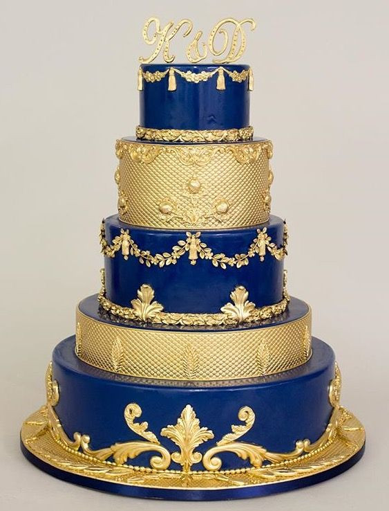 Navy Blue And Gold Wedding Cakes  Blue and gold Let Them Eat Cake in 2019