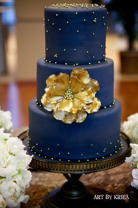 Navy Blue And Gold Wedding Cakes  Navy blue and gold wedding cake