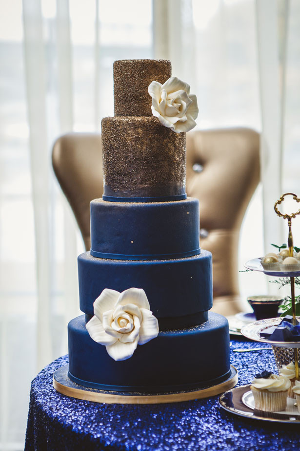 Navy Blue And Gold Wedding Cakes  Royal Blue and Gold Wedding Cake Belle The Magazine