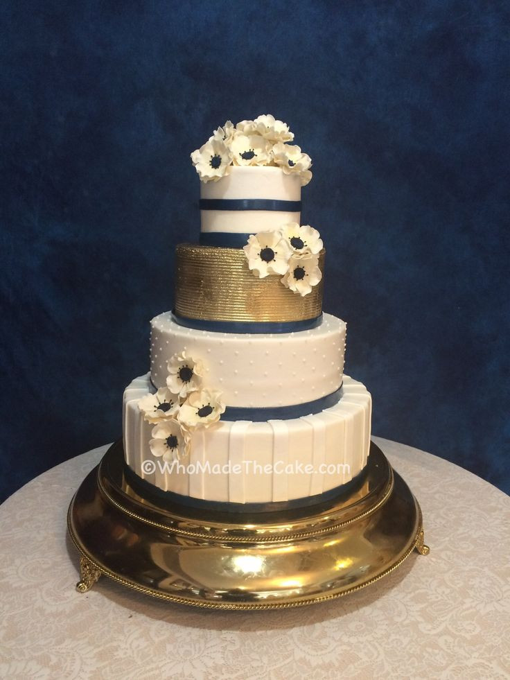 Navy Blue And Gold Wedding Cakes  Navy & Gold Anemone Wedding Cake by