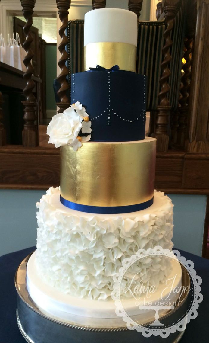 Navy Blue And Gold Wedding Cakes  Navy and gold wedding cake …