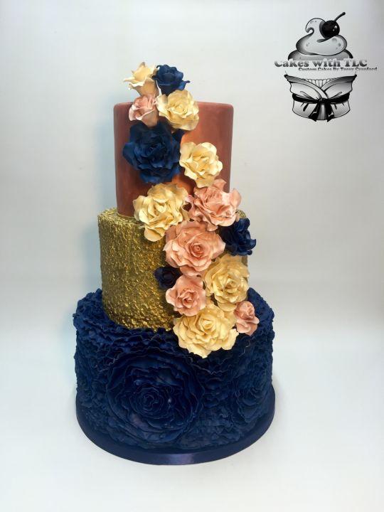 Navy Blue And Gold Wedding Cakes  Navy Gold and Blush Wedding cake cake by ToreyTLC