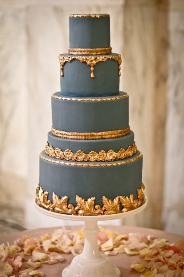 Navy Blue And Gold Wedding Cakes  Navy Wedding Navy Blue & Gold Cake Weddbook