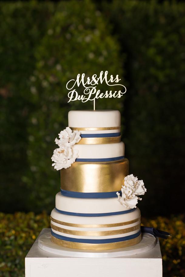 Navy Blue And Gold Wedding Cakes  Glamorous Navy Pink & Gold Wedding