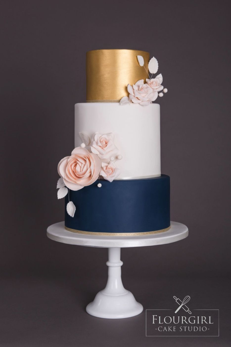 Navy Blue And Gold Wedding Cakes  Navy gold and blush wedding cake