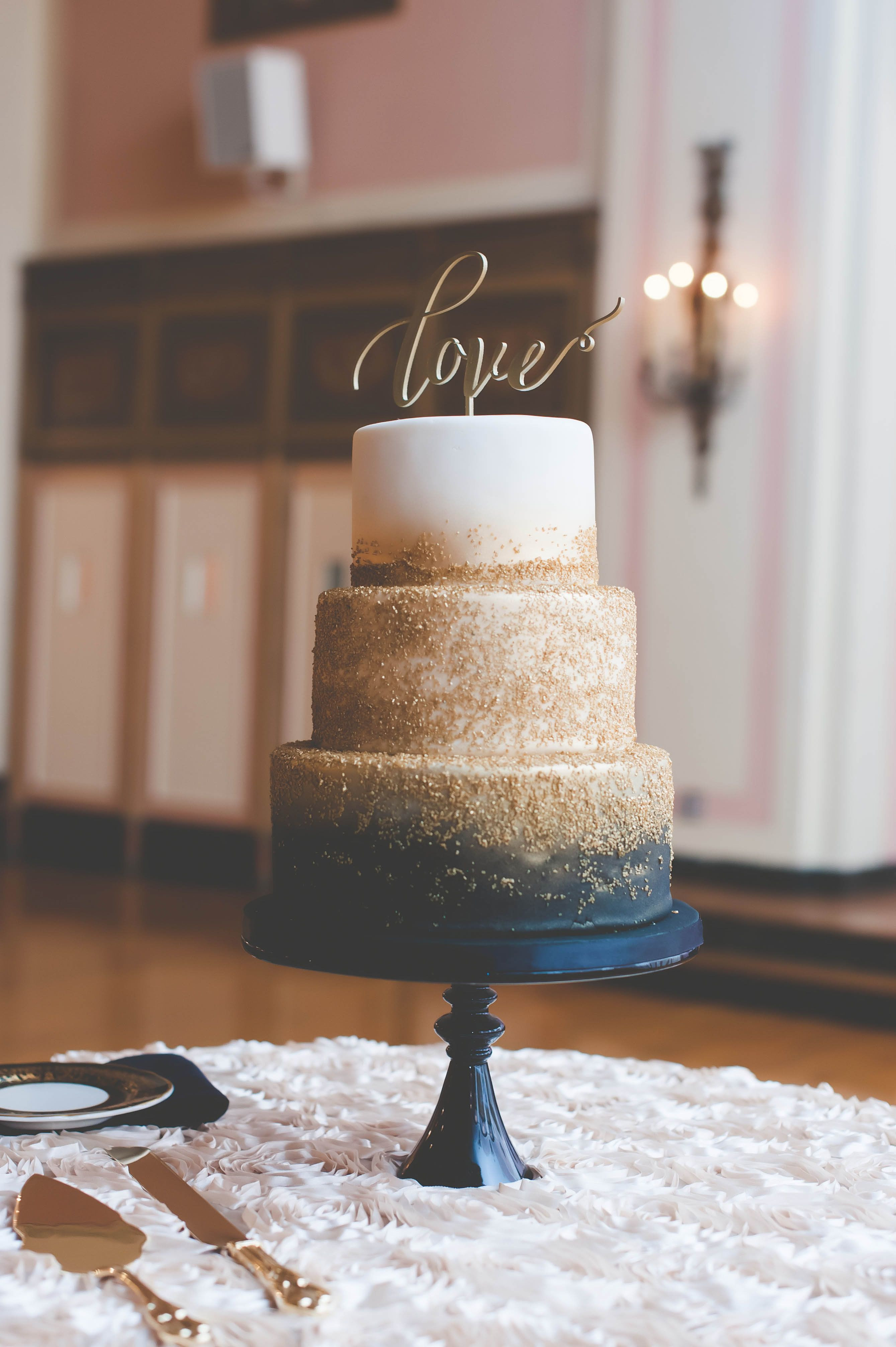 Navy Blue And Gold Wedding Cakes  Navy and Gold Zingerman s Wedding Cake