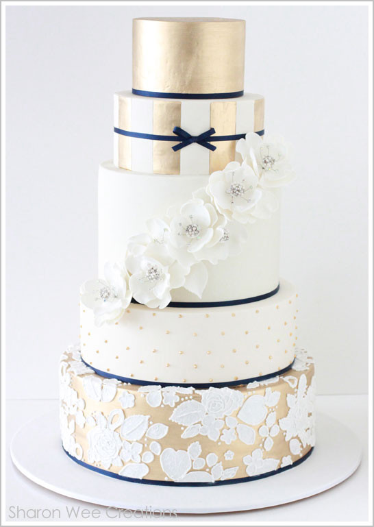 Navy Blue And Gold Wedding Cakes  Wedding Theme Navy Muted Gold