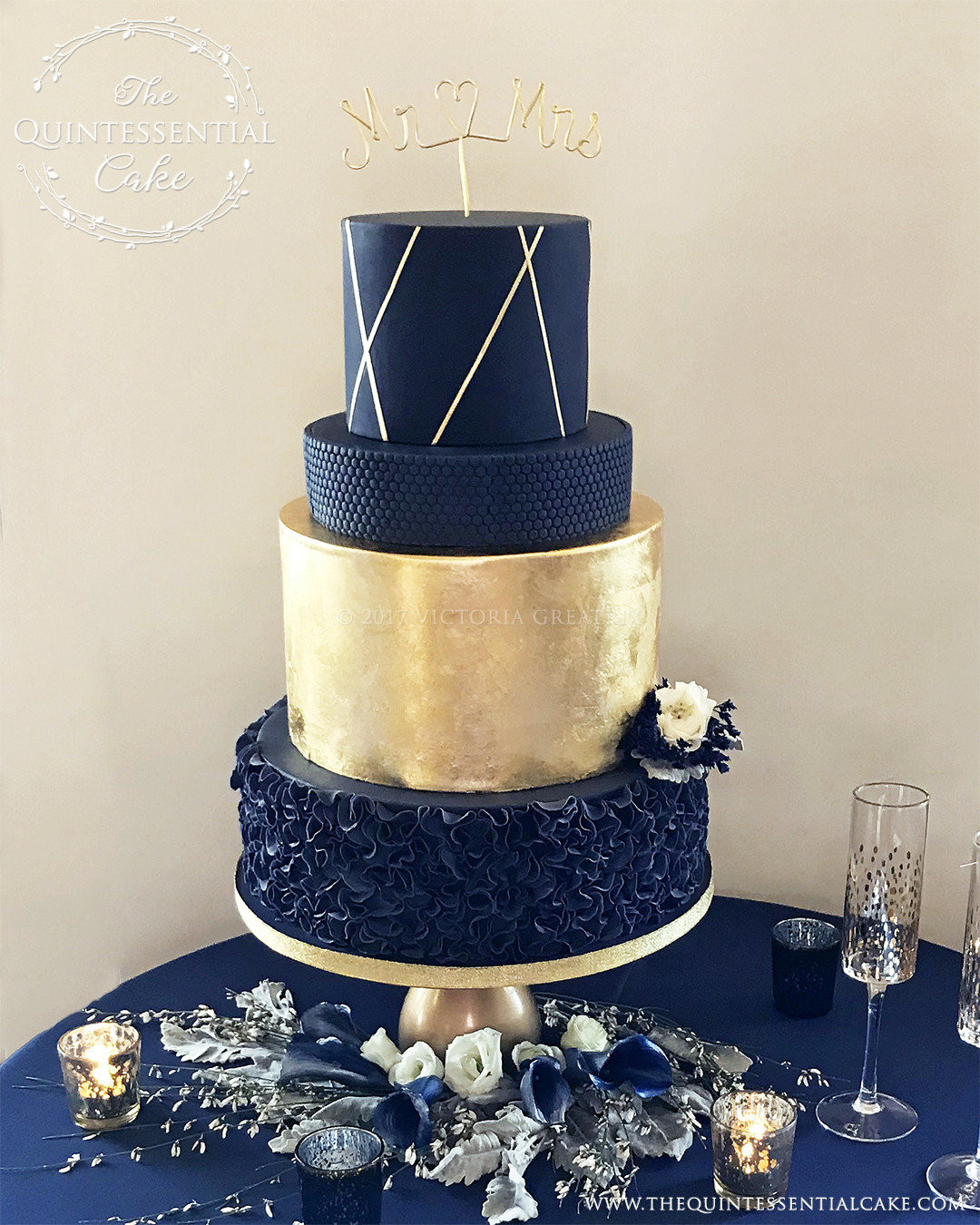 Navy Blue And Gold Wedding Cakes  Weddings The Quintessential Cake