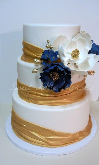 Navy Blue And Gold Wedding Cakes  Gold and Navy Wedding Cake Cake by Stephanie CakesDecor
