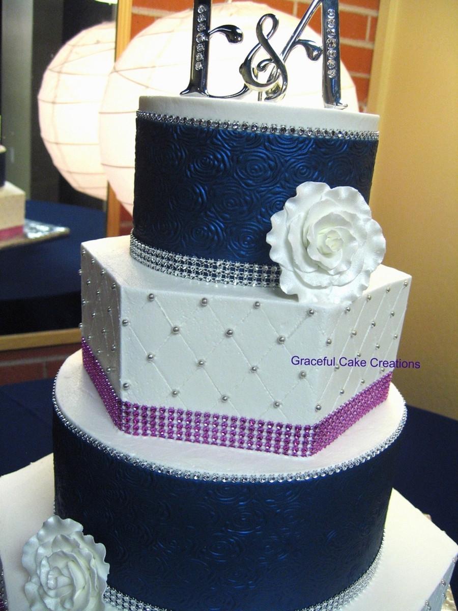 Navy Blue And White Wedding Cake  Elegant Navy Blue White And Pink Wedding Cake