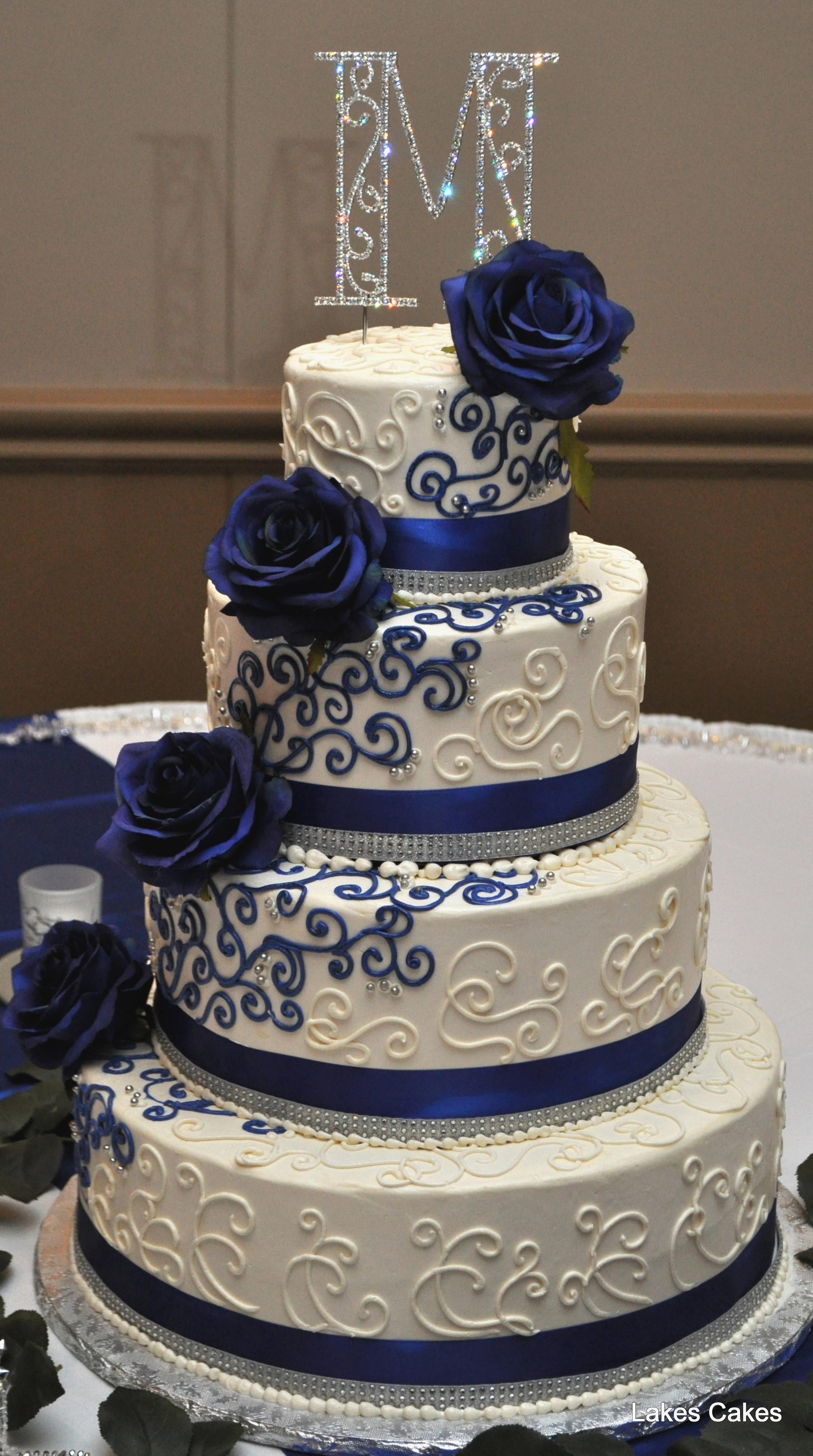 Navy Blue And White Wedding Cake  Beautiful Navy Blue White and Bling themed Wedding Cake