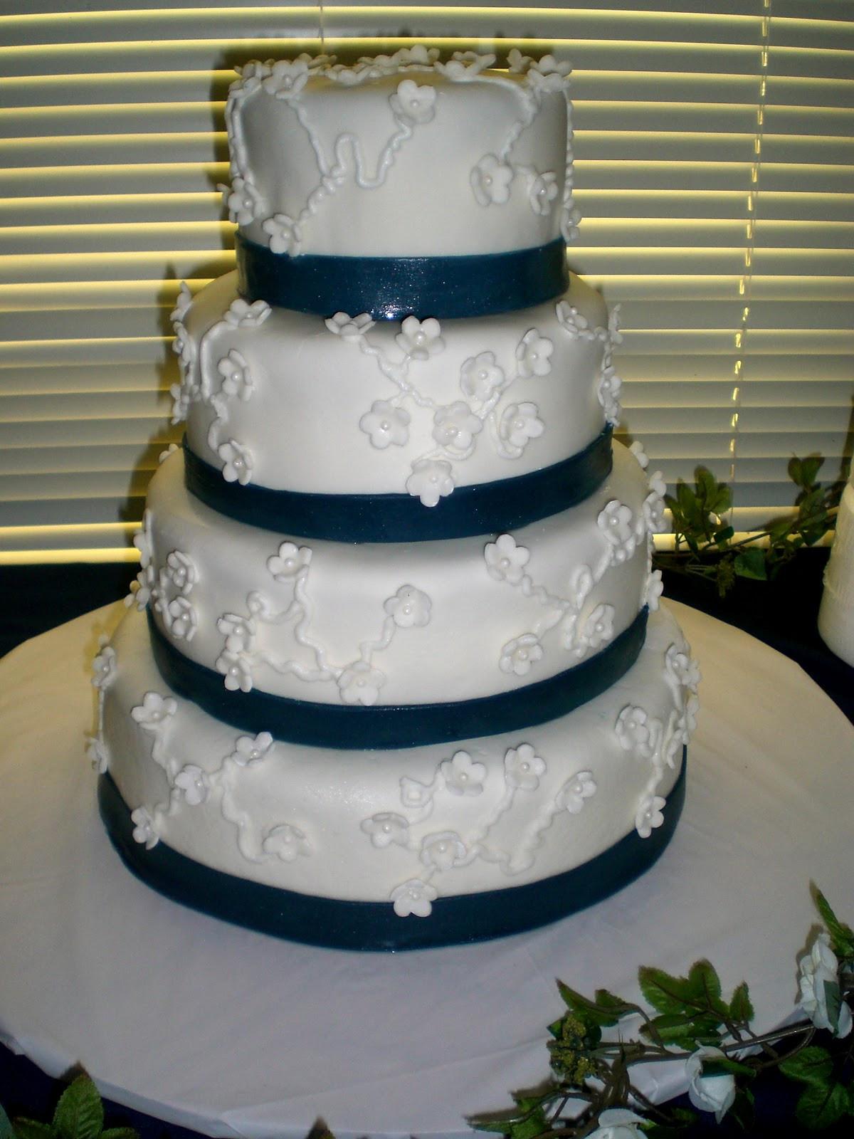 Navy Blue And White Wedding Cake  Pin Fondant White Roses And Navy Blue Wedding Cake Flickr