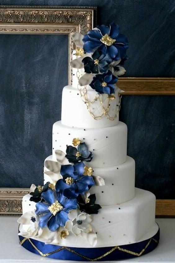 Navy Blue And White Wedding Cake  40 Pretty Navy Blue and White Wedding Ideas