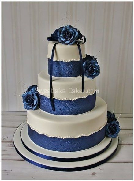 Navy Blue Wedding Cakes  Navy Blue wedding cake with scalloped and pearl trim and